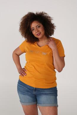 T-shirt van biokatoen bedrukt met 3 vlindertjes, Oker