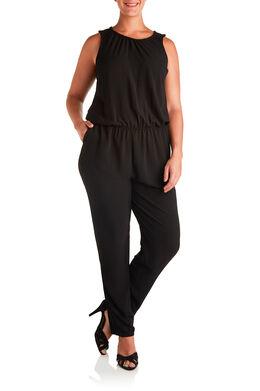 Jumpsuit in crêpe Zwart
