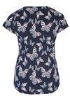 T-shirt imprimé papillons maille froide, Marine