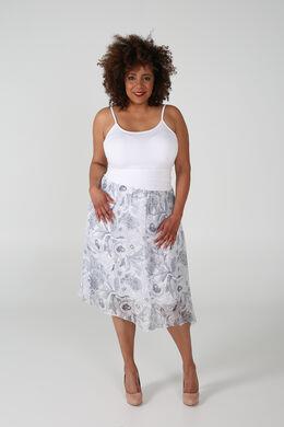 Jupe fluide imprimé fleurs et feuilles, Blanc