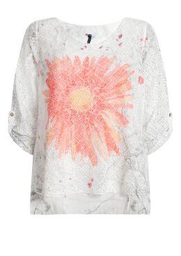 T-shirt 2-in-1 in nettricot en voile, Koraal