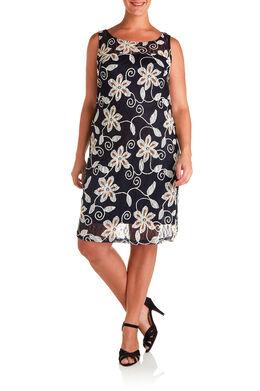 Kanten jurk bedrukt met bloemen en gom, Marineblauw