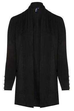 Long cardigan détail fil brillant, Noir