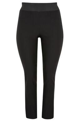 Pantalon de ville strech, taille élastiquée, Noir