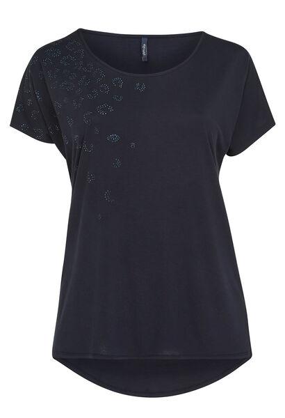 T-shirt de coupe ample détail de strass - Marine