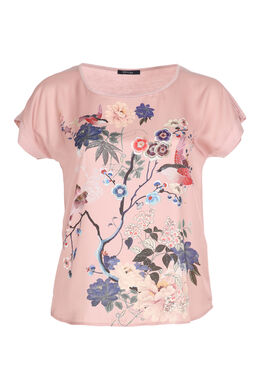 Satijnachtig T-shirt met Japanse print, Blush