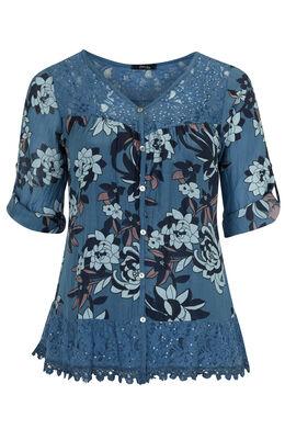 Romantische blouse van zijde-katoen, Indigo