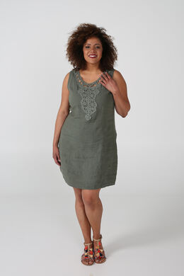 Linnen jurk met borststuk, Licht kaki