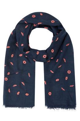 Sjaal met bloemenprint, Marineblauw