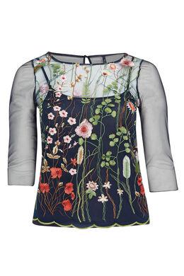T-shirt van netstof met borduurwerk, Multicolor