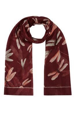 Sjaal bedrukt met libellen Bordeaux