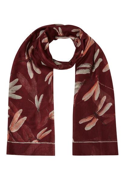 Sjaal bedrukt met libellen - Bordeaux