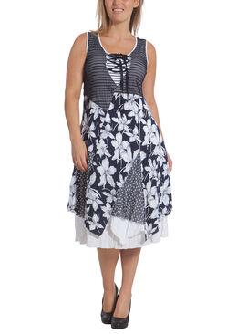 Lange jurk in materiaalmix met print Wit