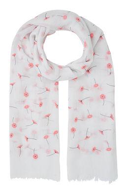 Sjaal met bloemenprint, Wit