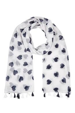 Sjaal met tweekleurige hartjesprint, Wit