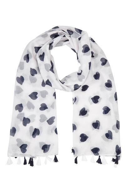 Foulard imprimé coeurs bicolores - Blanc