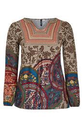 T-shirt van warm tricot + geborduurde voorkant
