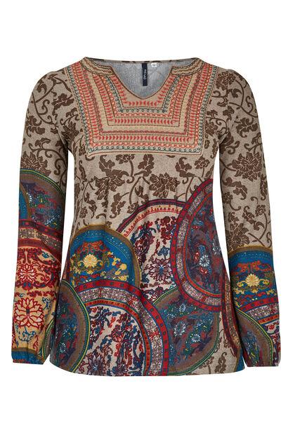 T-shirt van warm tricot + geborduurde voorkant - Multicolor