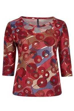 T-shirt maille chaude imprimé ronds & lignes, Bordeaux