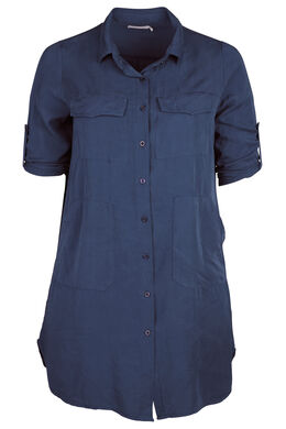 Robe chemise en lyocell, Marine
