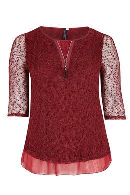 2-in-1 trui met Engels borduurwerk en nettricot Bordeaux