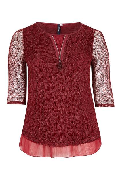 2-in-1 trui met Engels borduurwerk en nettricot - Bordeaux