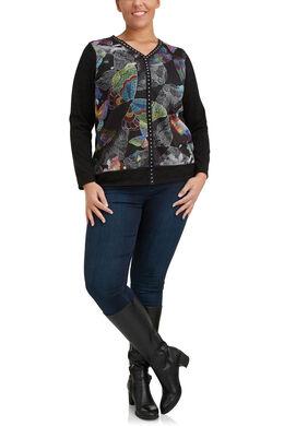 T-shirt van warm tricot met fantasieprint, Zwart