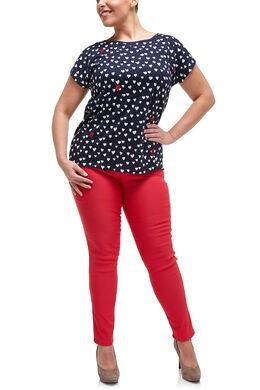 T-shirt met hartjesprint en strassteentjes, Marineblauw