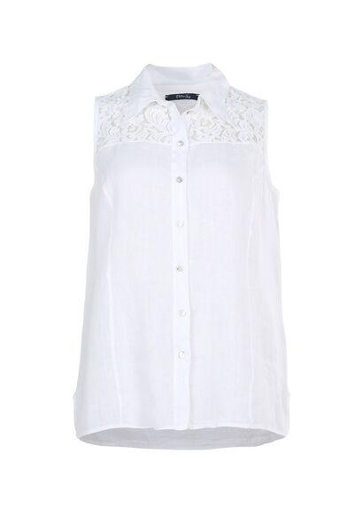 Top van 100% linnen - Wit