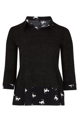 Shirt met dubbel effect, Zwart