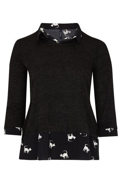 Shirt met dubbel effect - Zwart