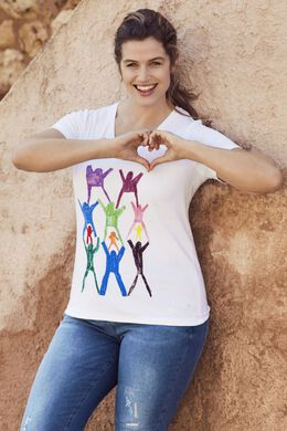T-shirt met opdruk 'Make a wish', Wit