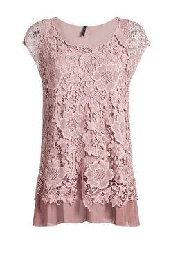 Dubbele bloes in materiaalmix   Roze