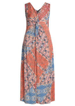 Lange jurk in bedrukt koel tricot Koraal