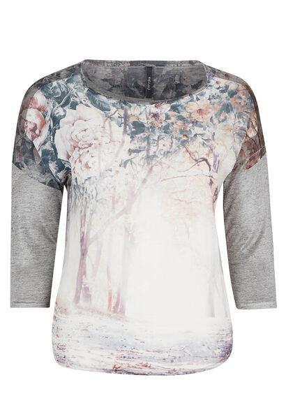 T-shirt met fotoprint en gevlamd tricot - Pruim