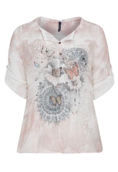 Blouse van voile met vlinderprint - Roze
