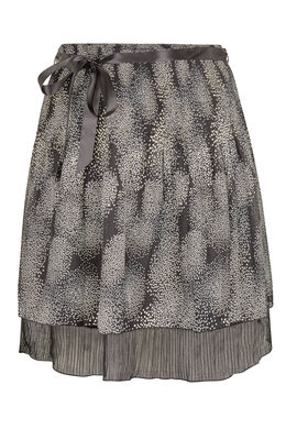Een bedrukte rok van voile, Zwart