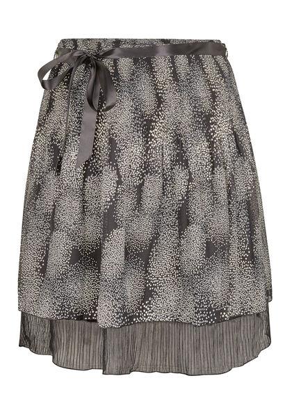 Een bedrukte rok van voile - Zwart