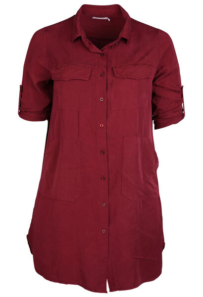 Robe chemise en lyocell - Bordeaux