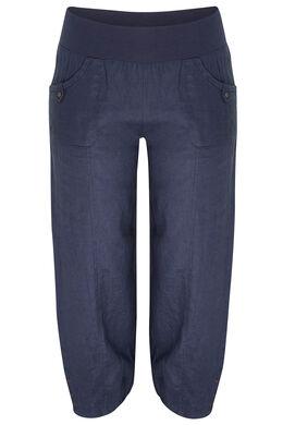 7/8-broek van linnen, Marineblauw
