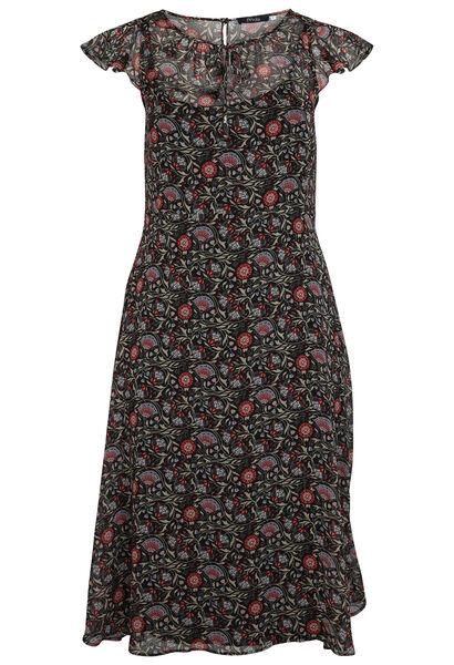 Longue robe en voile imprimé fleuri - Bordeaux
