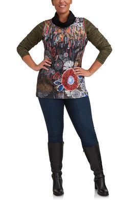 T-shirt col boule imprimé devant, multicolor