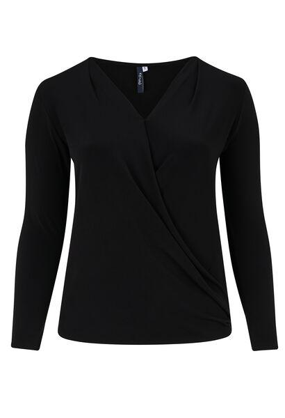 Gedrapeerd wikkel-T-shirt - Zwart
