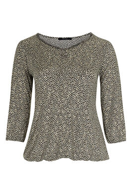 T-shirt in koel tricot met folieprint, Taupe