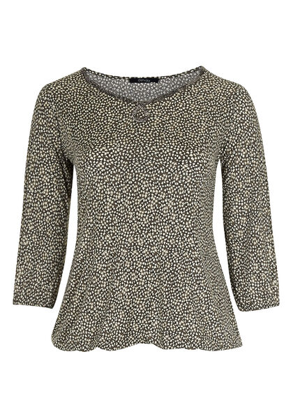 T-shirt in koel tricot met folieprint - Taupe