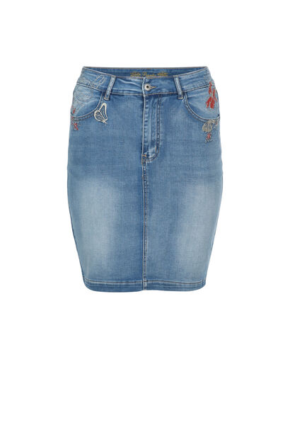 Rechte jeansrok met borduurwerk - Denim