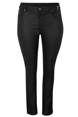 Gecoate, smalle broek met 5 zakken, Zwart