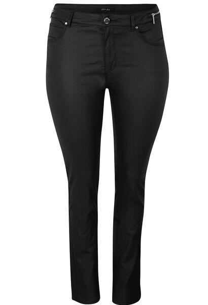 Pantalon 5 poches enduit coupe slim - Noir