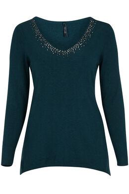 Puntvormige trui met strassteentjes, Emerald groen