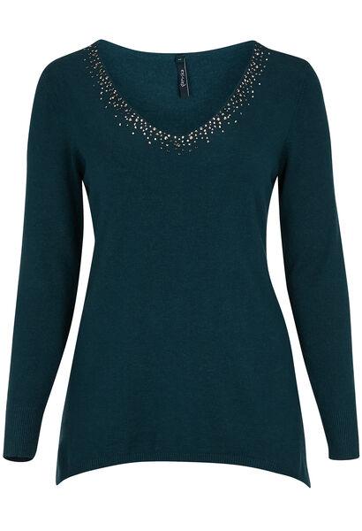 Puntvormige trui met strassteentjes - Emerald groen